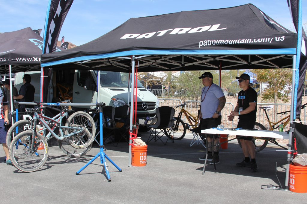 PATROL MOUNTAIN BIKES DEMOING THEIR RIDES.  LOOKED A BIT EMPTY, THAT'S A GOOD THING.