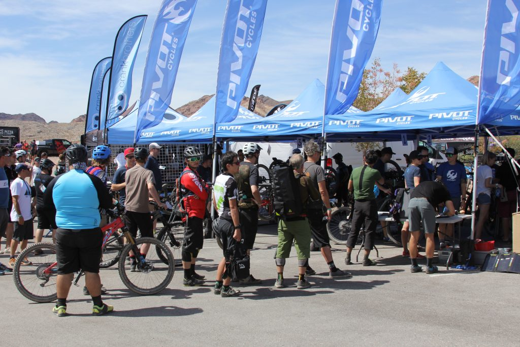 THE BUSIEST BIKE COMPANY OUT HERE WAS PIVOT. THEY HAD A LINE GOING MOST OF THE DAY.  NOW THAT ISA GOOD THING.